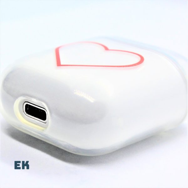 coque airpods coeur rouge